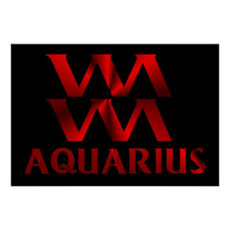 Red Aquarius Horoscope Symbol Poster