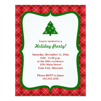 Red Argyle Christmas Tree Party Invitations