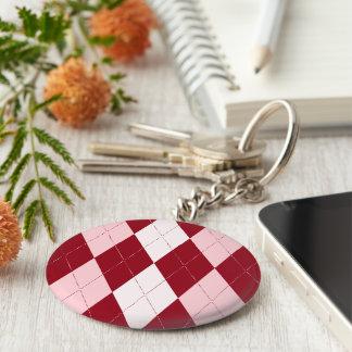 Red Argyle Crimson Pink Small Diamond Shape Basic Round Button Keychain