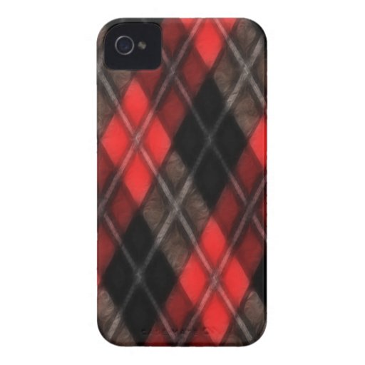 Red Argyle Fractal Blackberry Bold Case