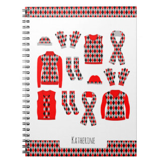 Red Argyle Items Photo Notebook