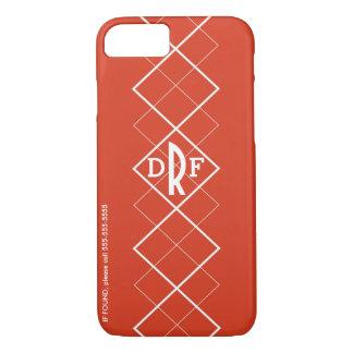 Red Argyle Monogram iPhone 7 Case