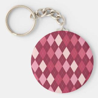 Red argyle pattern basic round button keychain