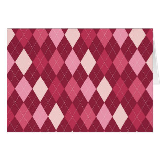 Red argyle pattern card