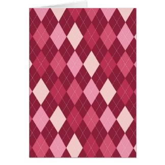 Red argyle pattern card