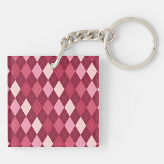 Red argyle pattern Double-Sided square acrylic keychain