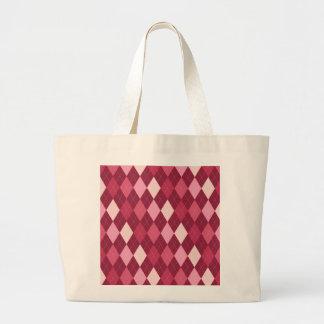 Red argyle pattern large tote bag