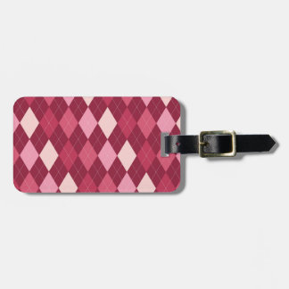Red argyle pattern luggage tag
