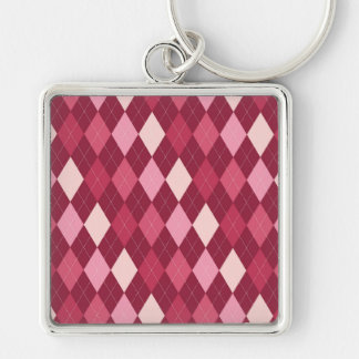 Red argyle pattern Silver-Colored square keychain