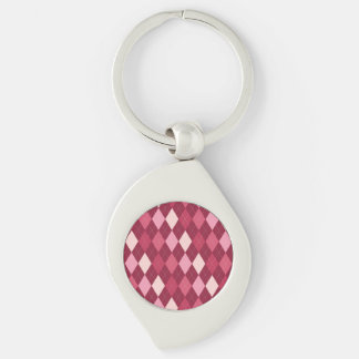 Red argyle pattern Silver-Colored swirl keychain