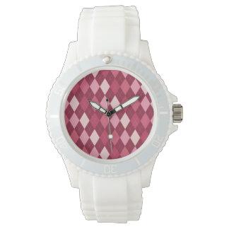 Red argyle pattern watch