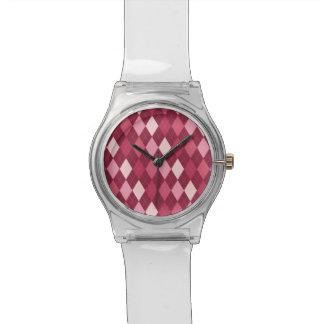 Red argyle pattern watches