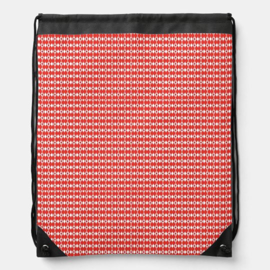 Red Argyle Print Drawstring Backpack