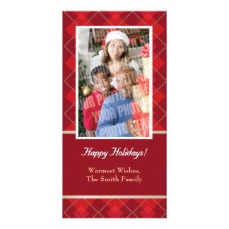 Red argyle single photo card