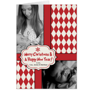 Red Argyle, Vintage Style Christmas Card