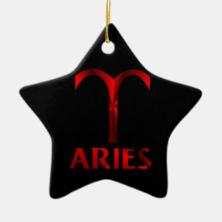 Red Aries Horoscope Symbol Ceramic Ornament