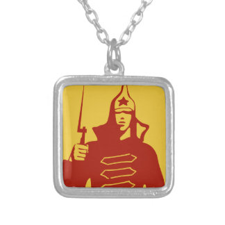 Red Army Soldier Silver Plated Necklace