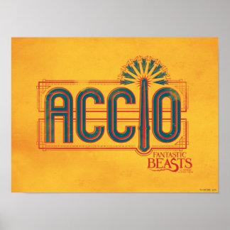 Red Art Deco Accio Spell Graphic Poster