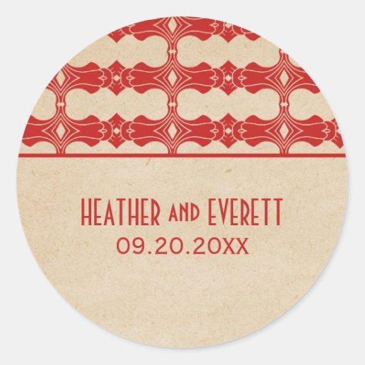Red Art Deco Border Wedding Stickers