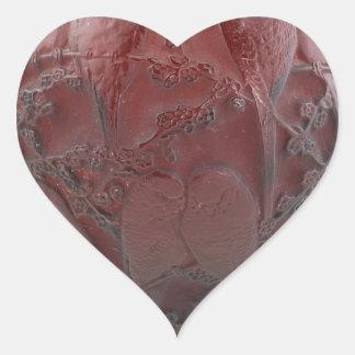 Red Art Deco glass bird vase. Heart Sticker