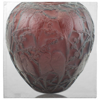 Red Art Deco glass bird vase. Napkin