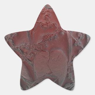Red Art Deco glass bird vase. Star Sticker