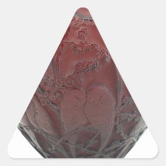 Red Art Deco glass bird vase. Triangle Sticker