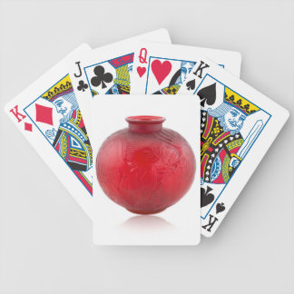 Red Art Deco glass vase with fish design. Bicycle Playing Cards