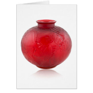 Red Art Deco glass vase with fish design. Card