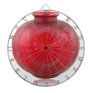 Red Art Deco glass vase with fish design. Dartboard
