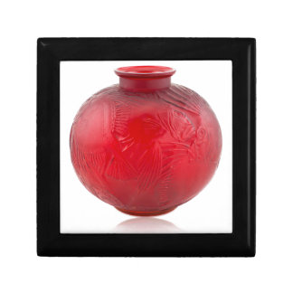 Red Art Deco glass vase with fish design. Gift Box