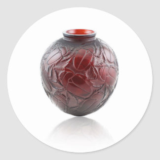Red Art Deco glass vase with scarabs. Classic Round Sticker