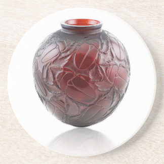 Red Art Deco glass vase with scarabs. Coaster