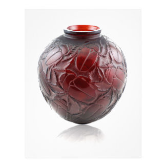 Red Art Deco glass vase with scarabs. Letterhead