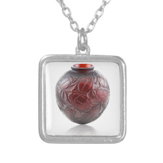 Red Art Deco glass vase with scarabs. Silver Plated Necklace