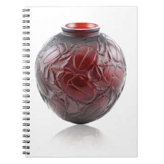 Red Art Deco glass vase with scarabs. Spiral Notebook