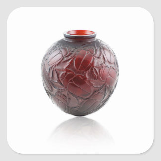 Red Art Deco glass vase with scarabs. Square Sticker