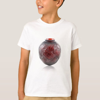 Red Art Deco glass vase with scarabs. T-Shirt