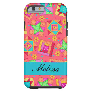 Red Art Patchwork Quilt Blocks Name Personalized Tough iPhone 6 Case