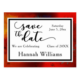 Red, Artsy, Unique Graduation Save the Date Postcard