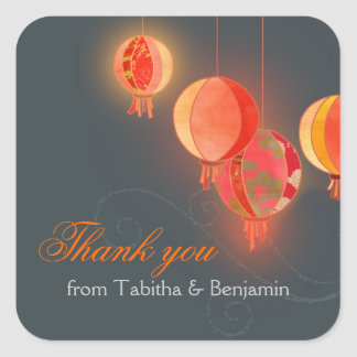 Red Asian Lanterns Gray Wedding Thank You Square Sticker