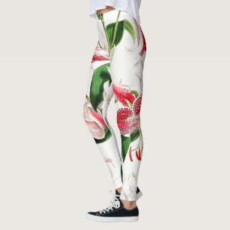 Red Asiatic Lily Flowers All Over Print Leggings