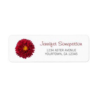Red Aster Return Address Label