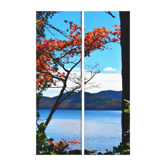 Red at Jordan Pond Diptych Canvas Print