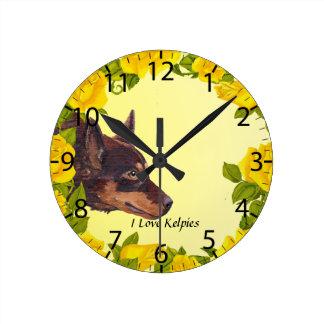 Red Australian Kelpie on Yellow Roses Round Clock