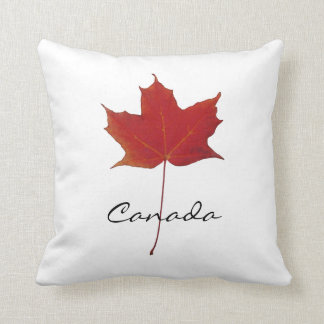 Red autumn canadian maple leaf - Canada Throw Pillows