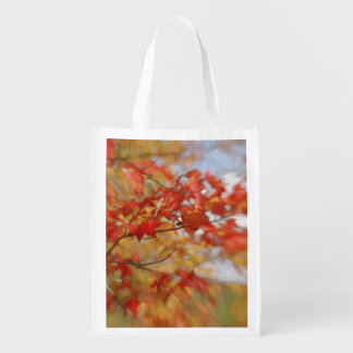 Red Autumn Leaves Abstract Painting Market Totes