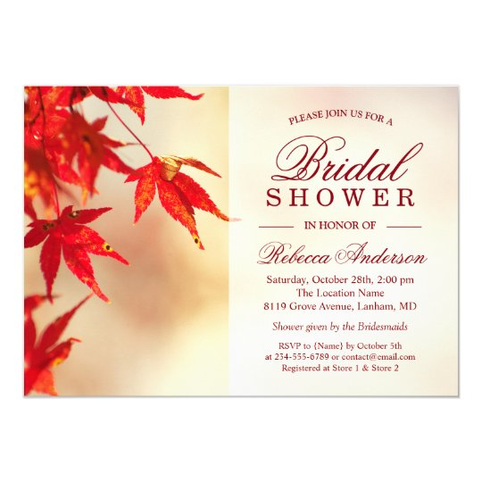 Red Autumn Leaves Elegant Chic Fall Bridal Shower Card
