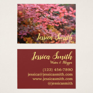 Red Autumn Leaves Nature Fall Foliage Photography Business Card
