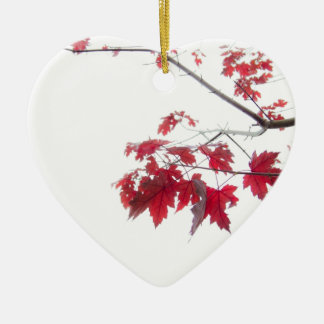 red autumn leaves on a branch ceramic heart ornament